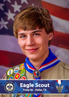 Example of Eagle Scout portrait on the Wall of Honor at the Scouting Centers